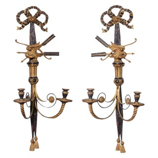 Italian Polychrome Classical Wall Sconces - A Pair For Sale