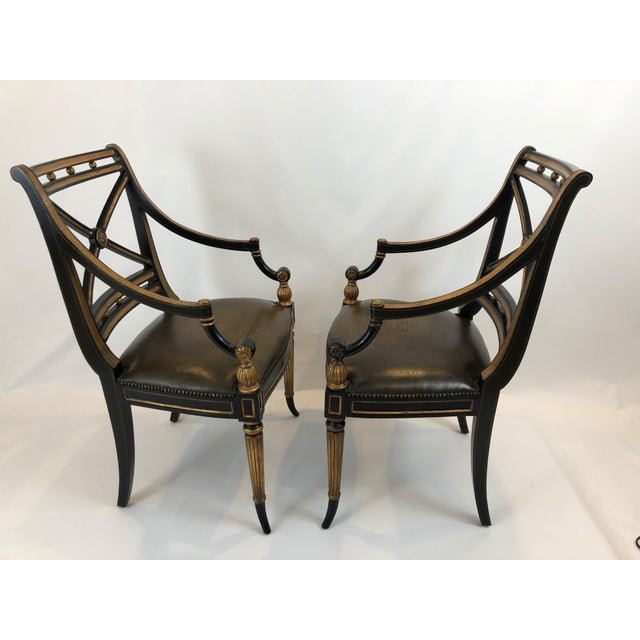 Regency Black and Gilded Armchairs With Leather Seats - a Pair For Sale - Image 9 of 13