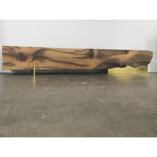 Oz|shop Antique Oak Beam Bench With Brass Plate Feet For Sale - Image 4 of 7