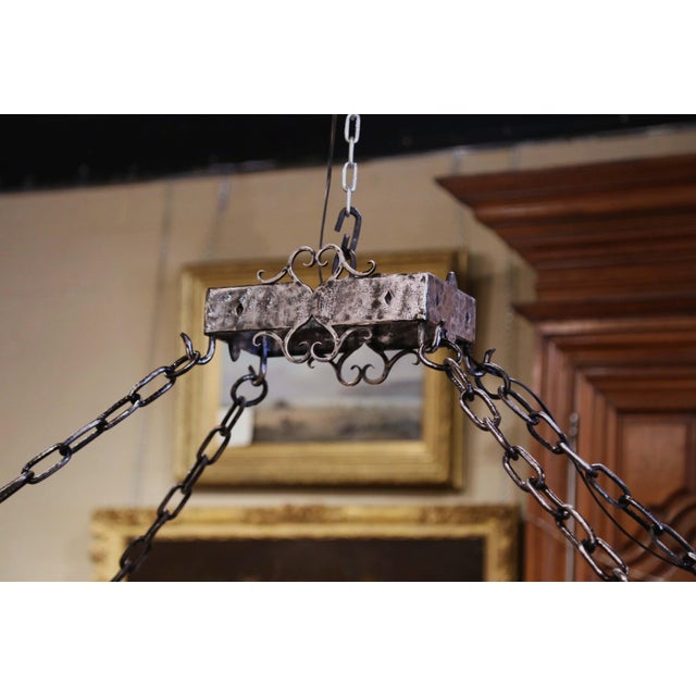 19th Century French Gothic Forged Polished Iron Ten-Light Island Chandelier For Sale - Image 9 of 13