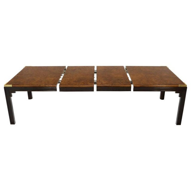 Large Burlwood Dining Table With Brass Accents and Two Extension Leaves Boards For Sale - Image 11 of 11
