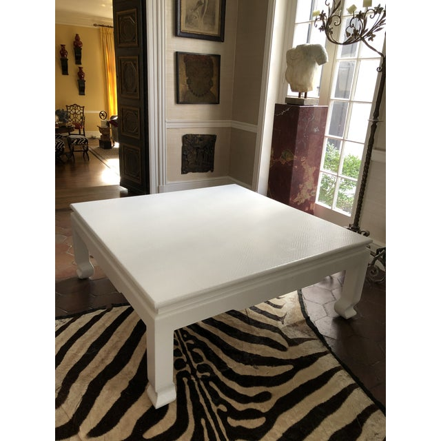 Large Square Asian Modern Linen Wrapped Coffee Table in the Style of Karl Springer For Sale - Image 11 of 12