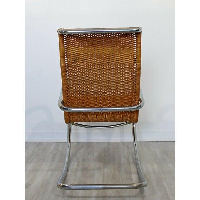 Mid Century Modern Italian Rattan Tubular Chrome Rocker Rocking Chair Italy 70s For Sale - Image 9 of 12