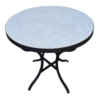 All White Moroccan Mosaic Side Table For Sale