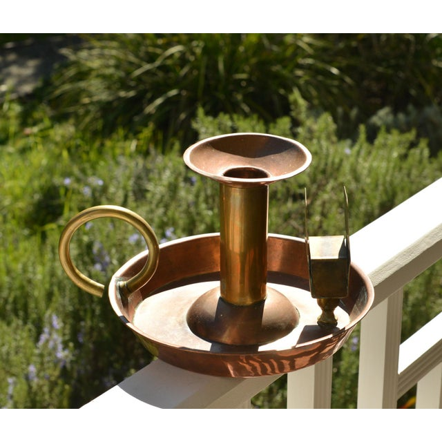 Large Antique Copper Candle Holder For Sale - Image 6 of 9