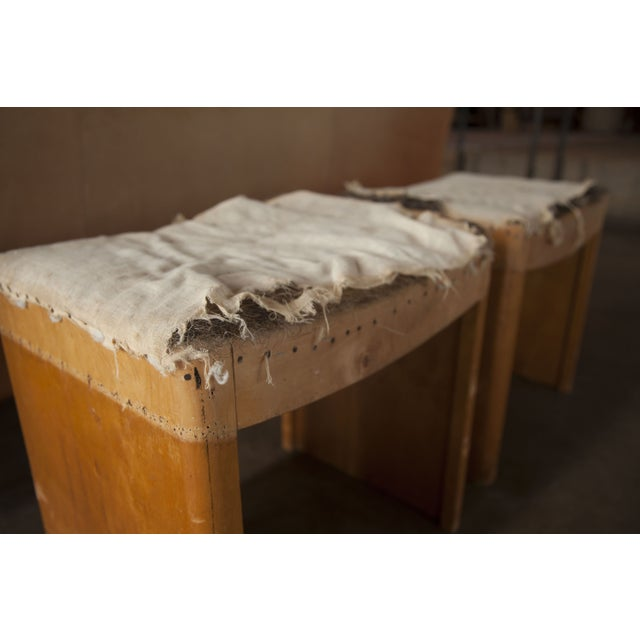 Distressed Vintage Wooden Stools - A Pair For Sale - Image 4 of 5