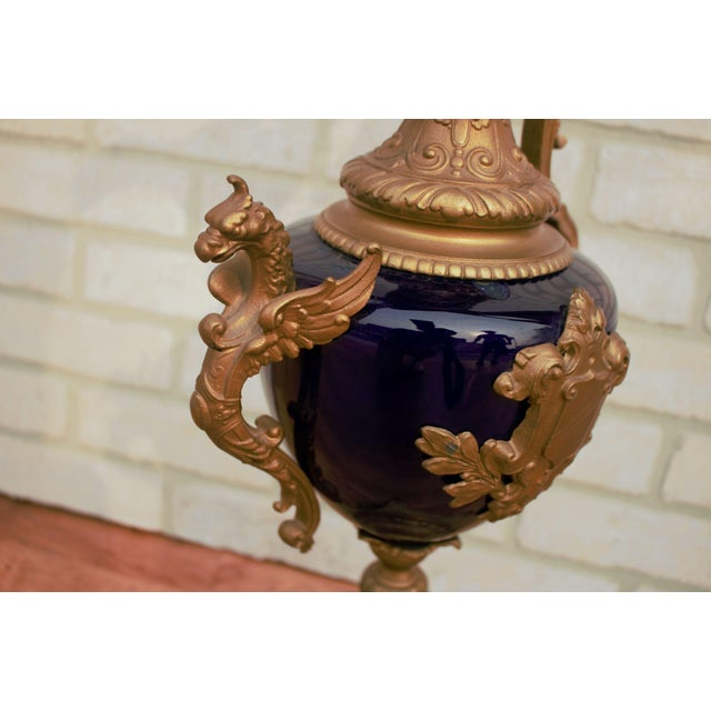Antique French Bronze and Cobalt Blue Urn Table Lamp With Shade For Sale - Image 9 of 11