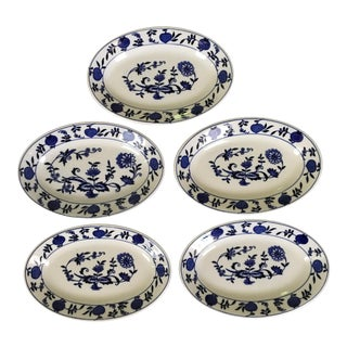 Blue & White, Blue Onion Design, Oval Dishes /Plates - Set of 5