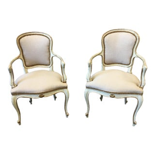 19th C Italian Parcel Gilt Painted Linen Arm Chairs - a Pair For Sale