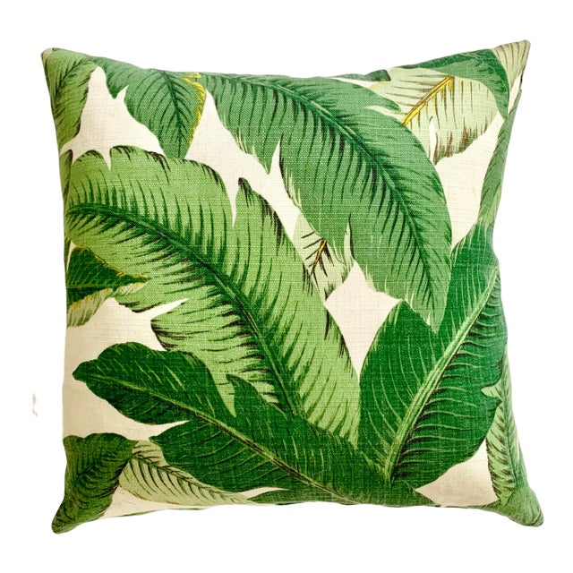 Regency Tropical Banana Palm Leaf Pillow - 16ʺw × 16ʺh For Sale