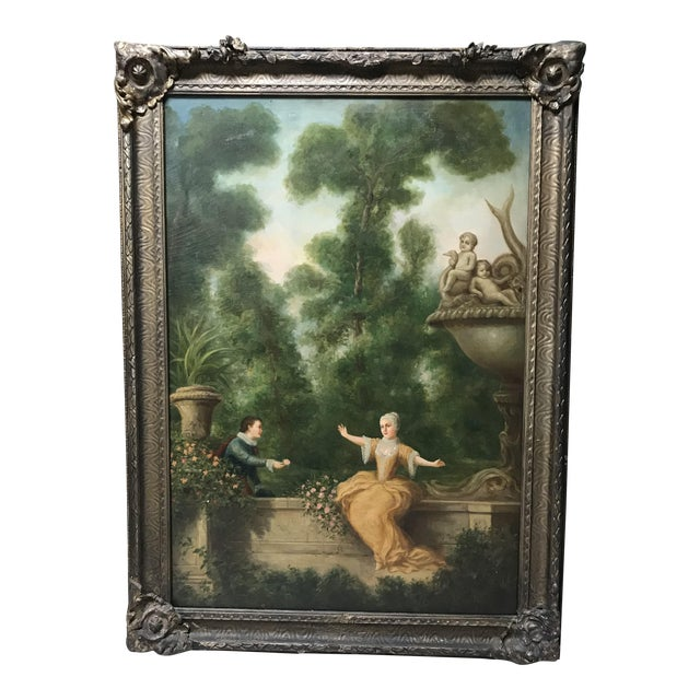 Antique French Oil Painting on Canvas For Sale