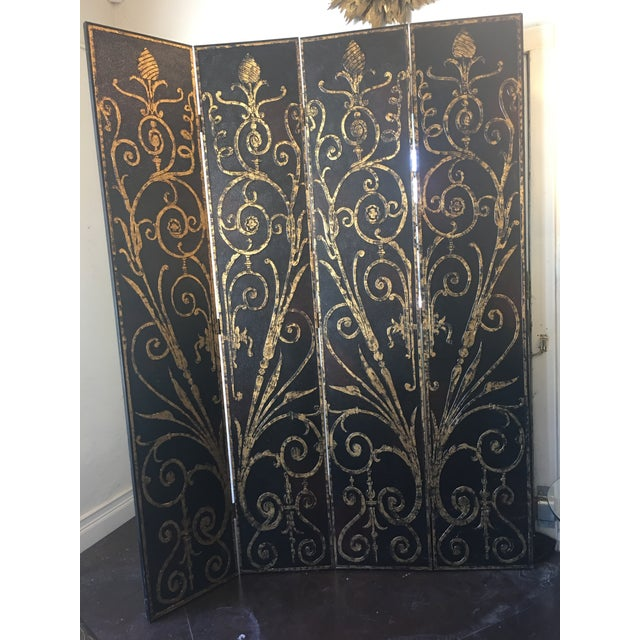 This beauty has 4 panels. I love that the gold design is raised.The whole thing has a shiny top coat. But the painted...