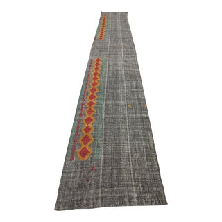 Late 20th Century Anatolian Organic Wool Kilim Runner- 2′8″ × 18′9″ For Sale
