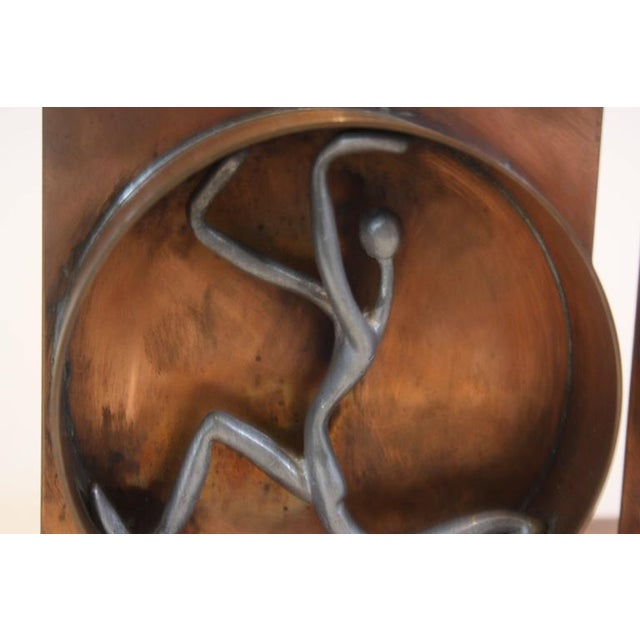 Mid-Century Modern Copper and Pewter Bookends Signed Nelson - Image 7 of 11