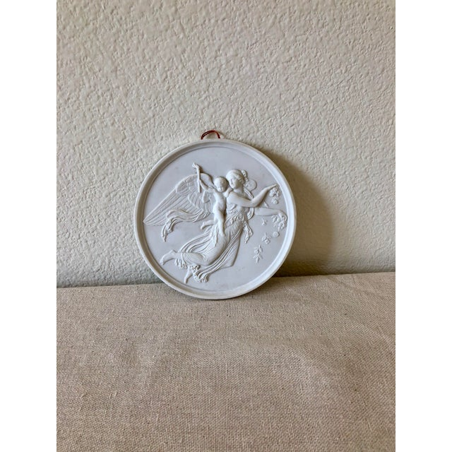 Neoclassical Vintage Bing & Grøndahl Porcelain Angel Wall Plaques - a Pair For Sale - Image 3 of 9