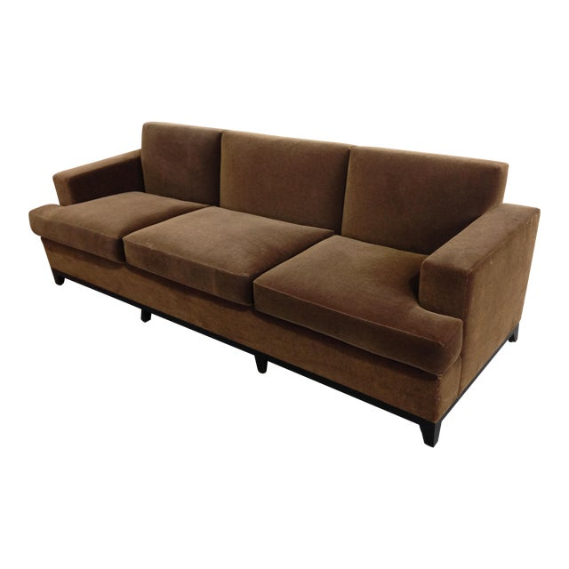 Brown Mohair 3 Seater Sofa For Sale