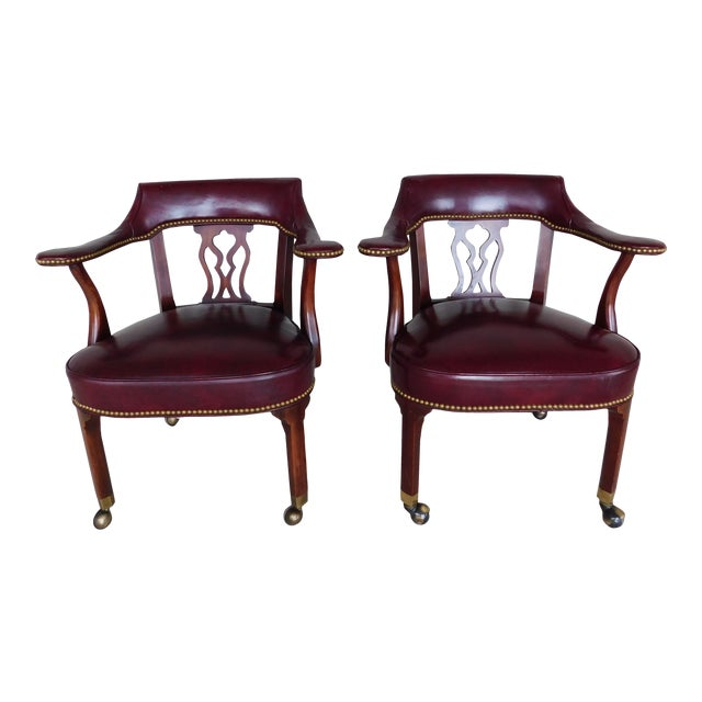 Hickory Chair Chippendale Style Leather Arm Chairs - a Pair For Sale