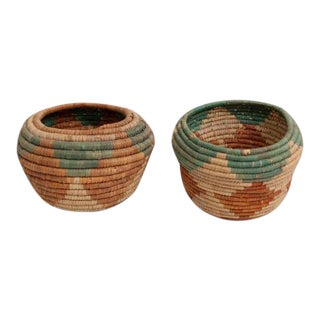 Native American Coil Baskets - A Pair