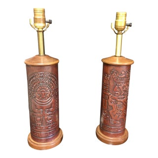 Hand Tooled Leather Lamps With Inca Designs-Made and Bought in Peru - a Pair For Sale
