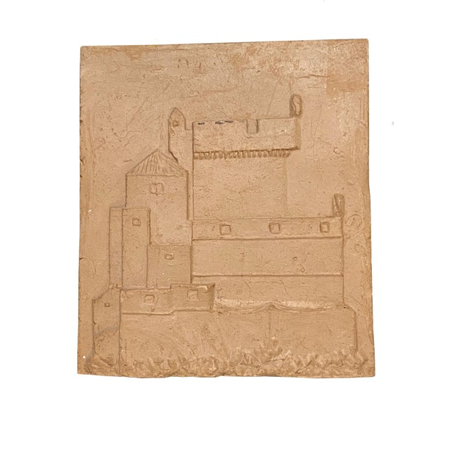 English Vintage Clay Tile With Carved Castle For Sale - Image 3 of 5