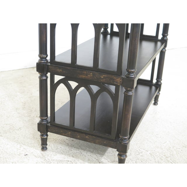 2010s Traditional Paint Decorated Tiered Bookshelf End Tables - a Pair For Sale - Image 5 of 9