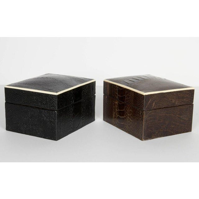 Pair of R & Y Augousti Decorative Boxes in Exotic Ostrich Leather With Bone Inlay For Sale - Image 9 of 13