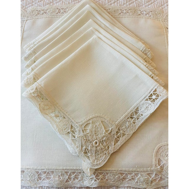 Late 19th Century Antique Battenberg Tape Lace Tablecloth, 8 Placemats, Runner and 8 Napkins, 4 Cocktail Napkins- 22 Piece Set For Sale - Image 5 of 8