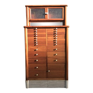 Early 20th Century Antique Art Deco Teak and Marble Dentist's Chest For Sale