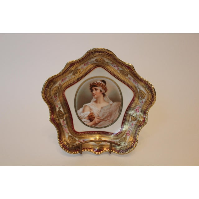 Pink Gilded Classical Muse Portrait Ornate Bowl For Sale - Image 8 of 8