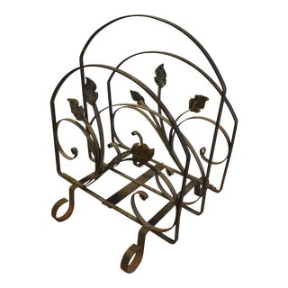 20th Century Country Wrought Iron Magazine Rack For Sale