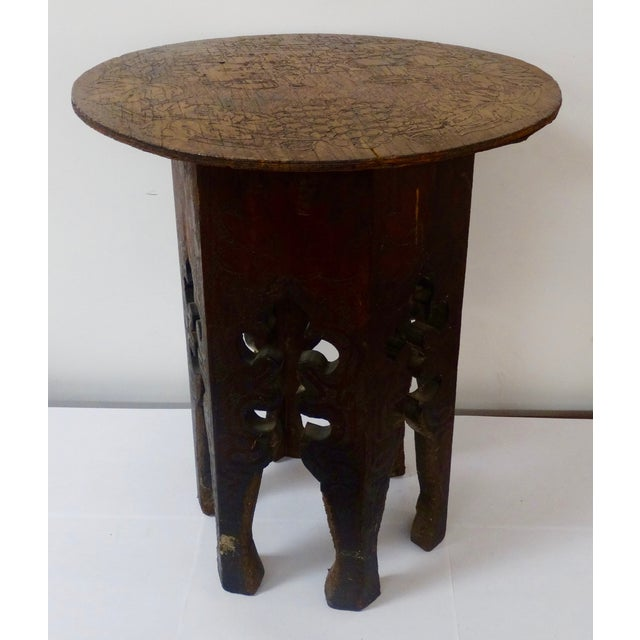 Pyrography side table. Great detail. Unusual detail of grapes and grape vines. Very decorated. Would be a great accessory...