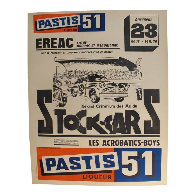 1960s French Stock-Cars Racing Poster, Pastis 51 Liquor Advertisement. For Sale