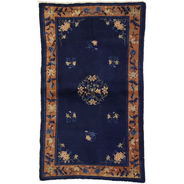 Chinese Early 20th Century Antique Chinese Peking Accent Rug - 3′11″ × 6′8″ For Sale - Image 3 of 10