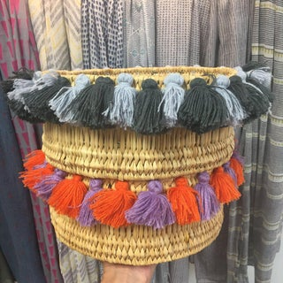 Moroccan Orage and Lilac Tassel Small Basket Preview