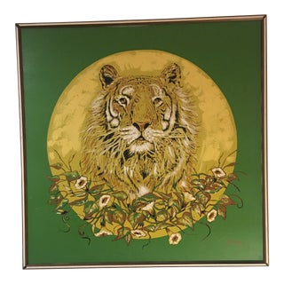 Oversized Original Mid Century Lion Oil Painting Signed Gregg For Sale