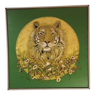Oversized Original Mid Century Lion Oil Painting Signed Gregg