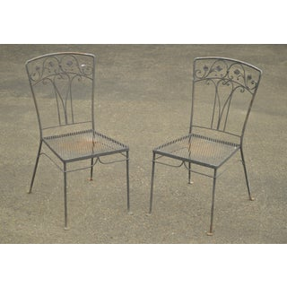 Salterini Vintage Wrought Iron Pair Garden Side Chairs Preview