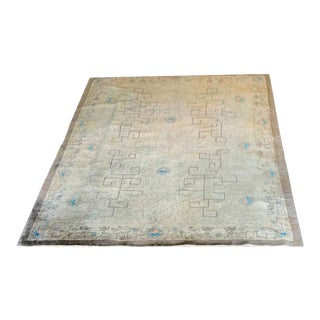 "1920s Antique Geometric Art Deco Chinese Rug-9'x11'6"" For Sale"