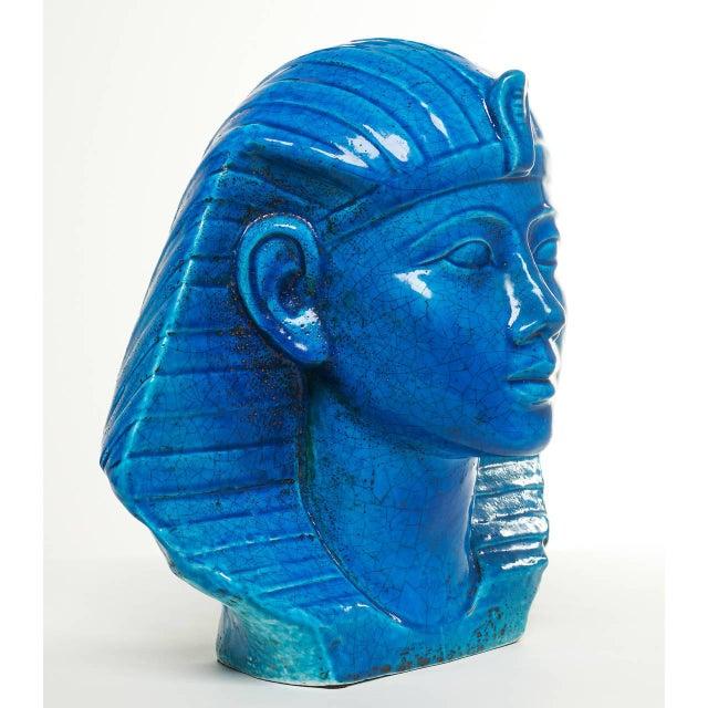 Persian Blue Glaze King Tutankhamun Ceramic Bust by Ugo Zaccagnini - Image 6 of 8