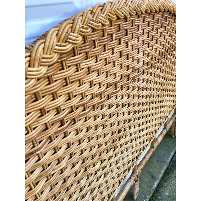 1960s Vintage Braided Woven Bamboo Wicker Rattan Queen Headboard For Sale - Image 4 of 7
