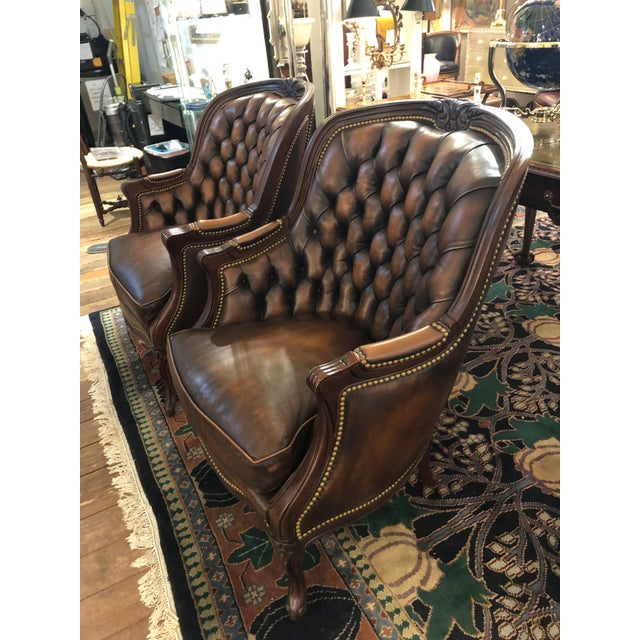 Hancock & Moore Tufted Burnished Leather Club Chairs - a Pair For Sale - Image 4 of 13