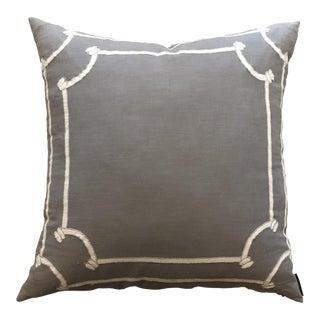 Lili Alessandra Gray Linen Pillow For Sale