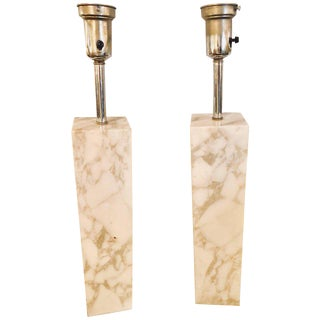 A Fine Custom Pair of T. H. Robsjohn Gibbings Marble Column Form Table Lamps
