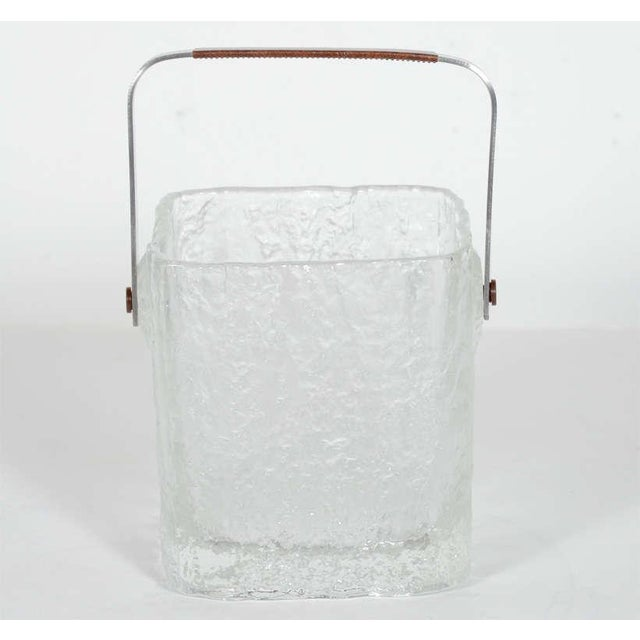 Mid-Century Modern Vintage Ice Bucket With Textured Ice Cube Glass Design For Sale - Image 3 of 11