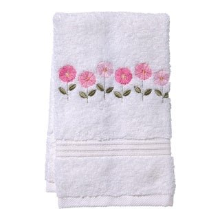 Pink Row of Flowers Guest Towel White Terry, Embroidered For Sale