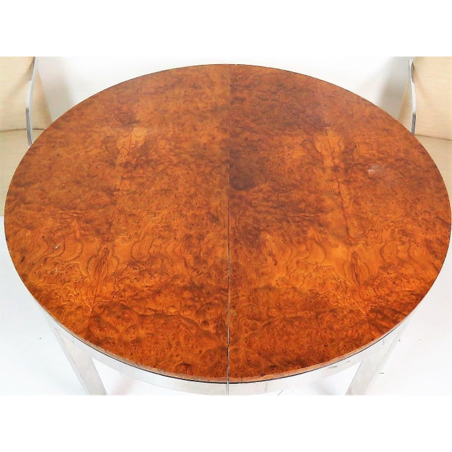 Milo Baughman Burl Walnut & Chrome Dining Set- 7 Pieces - Image 6 of 10