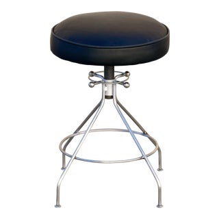 1960s Sputnik Style Stool, Steel and Leather For Sale