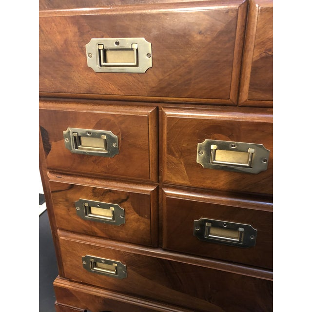 Late 20th Century Italian Campaign Style Chest of Drawers For Sale - Image 5 of 12