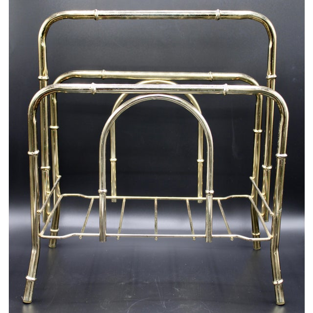 Vintage Brass Bamboo Style Magazine Rack / Book Shelf For Sale - Image 9 of 13