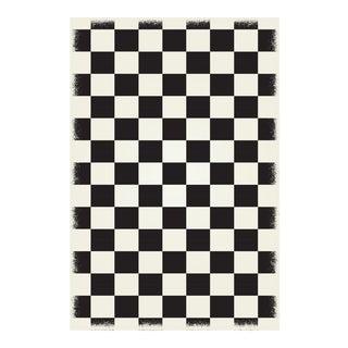 Black & White English Checkered Rug - 4' X 6'